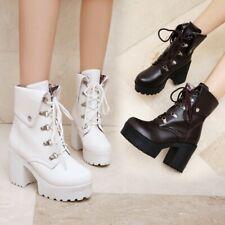 Women Chunky Block Heel Lace Ups Biker Combat Platform Ankle Boots Shoes Lolita