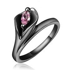 Size 6-8 Round Black Sapphire Big Stone Wedding Ring Women/Men's Band Ring