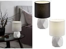 Beton Tischleuchten rund mit Stoffschirm Nachttischlampen klassisch Schlafzimmer