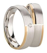 Ring Eheringe Partnerringe Verlobungsringe Silber Gold 925 mit Diamant + Gravur