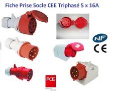 Prise industrielle murale CEE 5 broches IP44 400V 32A 6h 5p/ôles avec couvercle
