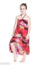 Aloha Butterfly Dress Girl Summer Beach Hawaiian Cruise Luau Red Sunset Palm