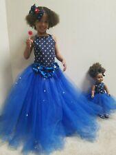 "18"" Doll Tutu And Girl Ribbon Back Top Blue Tutu Skirt Wit Matching Top Hair Bow"