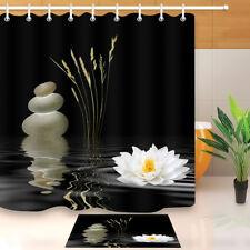 72x72'' Zen Spa & Lotus Bathroom Waterproof Fabric Shower Curtain & Mat 8362