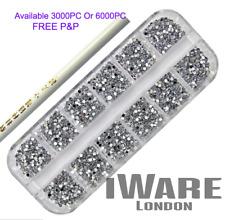 Rhinestone Gems Crystal Diamante Black/Silver Nail Art Journal Free Glue&Picker