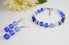 GLAS Schmuck / Armband /  Blau Töne + Hämatit silber