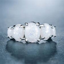 Gorgeous Fashion Wedding Rings for Women 925 Silver White Fire Opal Size 6-10