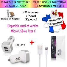 Chargeur de Voiture + Câble USB / LIGHTNING pour iPhone 5 6 7 8 X Plus iPad Ipod