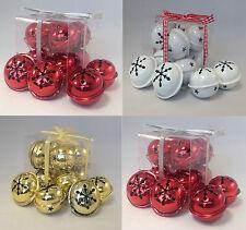 24 X Premier 40mm Snowflake Jingle Bell Baubles Christmas Decoration