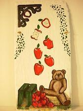 ORIGINAL HANDPAINTED SLATE ROOF TILE ART WINKING BEAR, SIGNED, 1 OF A KIND, NICE