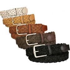 Cintura uomo donna intrecciata in camoscio foderata in cotone 3,5 cm unisex