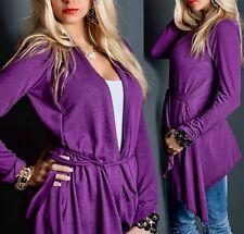♥ Damen long Weste Fein Strick Jacke Cardigan lila Asymmetrisch 34/36/38 Neu