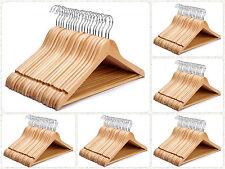 1 - 100 Natural Wooden Coat Hangers Set Wardrobe Suit Clothes Hanger Trouser Bar