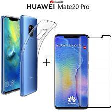COVER per Huawei Mate 20 Pro CUSTODIA TPU + PELLICOLA VETRO TEMPERATO CURVO 3D