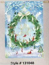 "Christmas Evergreen Festive Holiday Star Wreath Decorative Flag 29X43"" NIP"