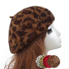 Women French Style Vintage Leopard Print Wool Soft Winter Warm Beret Cute Hat