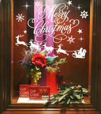 FLYING SANTA CHRISTMAS DECORATION VINYL WALL STICKERS WINDOW SHOP TREE