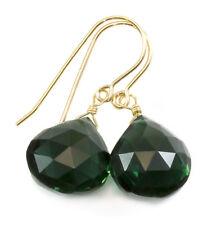 Green Sim Tourmaline Earrings Faceted Heart Teardrops Drops Sterling 14k Gold