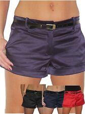NEW (1266) Ladies Hot Pants Shorts Shiny Satin Free Belt Sizes 8-16
