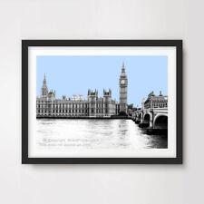 Blu Chiaro Londra Skyline Città pop art print poster ARREDAMENTO MODERNO NERO BIANCO