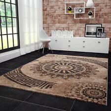 Wohnzimmer Teppich sehr dicht gewebt melliert Medallion Muster in Braun Beige