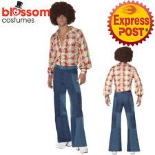 CA661 70s Denim Look Flared Trousers Pants Hippie 60s Groovy Disco Men Costume