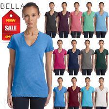 NEW Bella Canvas Ladies Triblend Short Sleeve Deep V-Neck T-Shirt M-8435