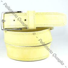 Cintura Pelle Giallo Cuoio Uomo Donna Artigianale Made In Italy 3,5 cm c2