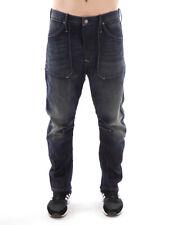 Freesoul Jeans Hose Denim Marine blau Knopfleiste Lederpatch Taschen