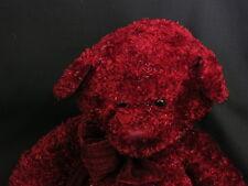 Big New Russ Ruby Red Sparkly Christmas Teddy Bear Velvet Bow Plush Stuffed Toy