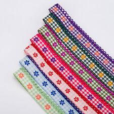 Neotrim French Picot Edge Pretty Ribbons Checks Flower Design By the Yard Online
