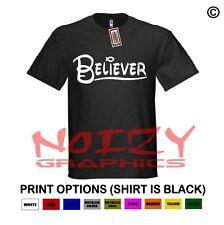 Believer Fish Christian Shirt Black T-Shirt Jesus Cross Religious Ithycus