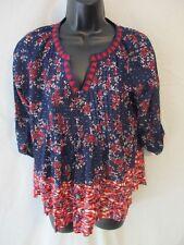 Vintage America Cotton Blnd Jolita Dk Blue Geometric 3/4 Slve Top SR$59 NEW