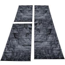 Teppich Bettumrandung Läuferset Steinoptik 3-teilig Schwarz Grau Meliert