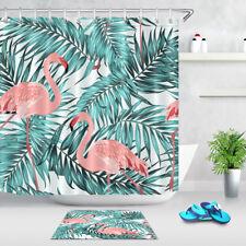 Tropical Jungle Palm Leaves Pink Flamingo Shower Curtain Liner Bathroom Decor