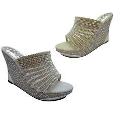 Women's Pump Platform High Heel Rhinestone Vogue Wedge Shoe Party Evening Sizes