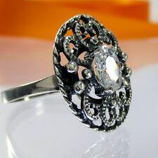 A069 Antik Look filigraner Ring 925 Silber Schmuck Kristallstein Jugendstil Neu
