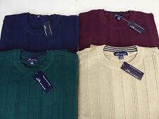JA John Ashford Ribbed Crewneck Long Sleeve Pullover Sweater $60 4 Colors! NWT