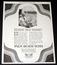 1919 OLD MAGAZINE PRINT AD, PALM BEACH SUITS, A PASSPORT TO COMFORT, FLATO ART!