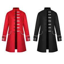 Men Single Breasted Long Jacket Blazer Gothic Steampunk Retro Medieval Wear Coat