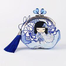 Handmade blue kawaii Kimmidoll Japanese coin purse - collectable #0090