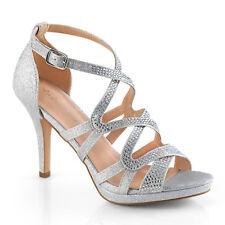 Silver Rhinestone Heels Ballroom Dance Vintage Bridal Flapper Shoes 6 7 8 9 10