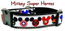 "Mickey Super Heroes dog collar handmade adjustable buckle collar 1"" wide"