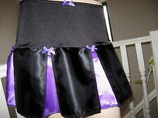 New Cool Gothic Black Purple Satin Cheerleader Mini Skirt,Punk,Rock,Lolita,Biker