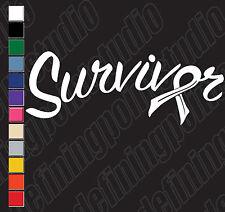 SURVIVOR CANCER RIBBON car/window/laptop etc vinyl decal stickers