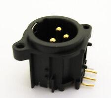 50pcs Black XLR Male Chassis 3Pin PCB Socket Gold Pin Audio Connector