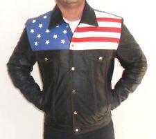 Mans en Cuir Véritable Veste Manteau avec nous drapeau américain Stars & Stripes Biker Rock