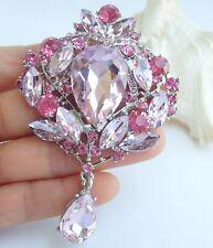 "Elegant 3.54"" Rhinestone Crystal Teardrop Brooch Pin Pendant 04082"