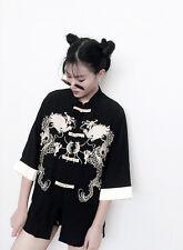 Japanese Harajuku Vintage Sweet Lolita Kimono Loose Print Embroidery dragon robe