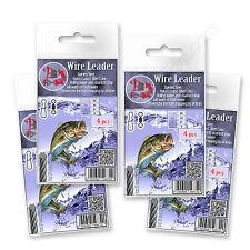 Trace wire leader 50lb 23kg nylon 50cm enduit pike sea fishing dual lock forte